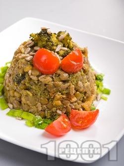 Топла салата от леща с броколи и пармезан - снимка на рецептата